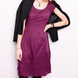 Garnet Hill Maroon Rosette Knit Dress Size 8